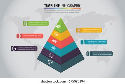Vector Marketing Pyramid Layered infographic Timeline design template with options. Pyramid Business concept idea 6 options. Template for diagram, graph, presentation and advertising chart 3D paper.