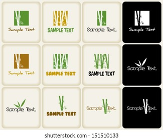 Vector marks ans symbols related to nature and bamboo