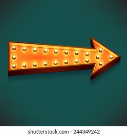 Vector marquee arrow symbol with warm yellow glowing light bulbs, dark sea green background