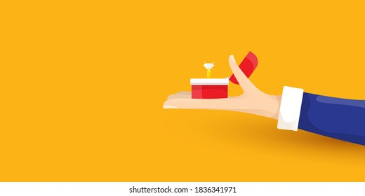 vector Marriage proposal horizontal banner. Man hand holding open box with a golden wedding ring and diamond isolated on orange horizontal background