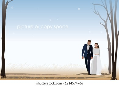 vector married couple hold hand and standing on rice field background