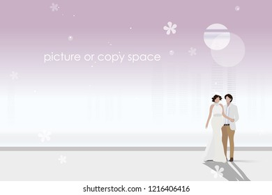 vector married couple standing on city background