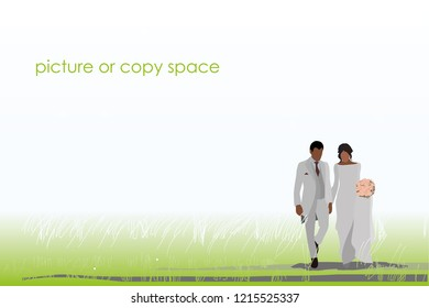 vector married dark skin couple hold hand and standing on outdoor background