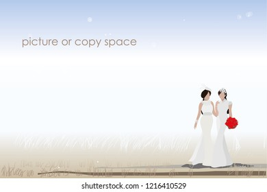 vector married lesbian couple standing on  outdoor background