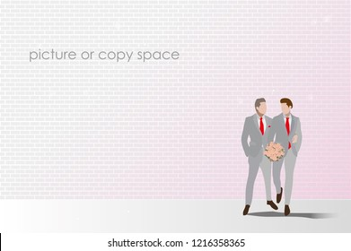 vector married men couple hold hand and standing on brick wall