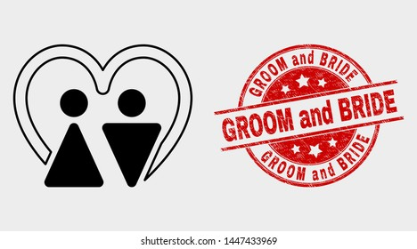 Vector married persons pictogram and Groom and Bride seal stamp. Red rounded distress seal stamp with Groom and Bride text. Vector composition for married persons in flat style.