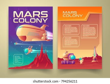 Vector mars colonization banner infographics template set. Solar system galaxy exploration red planet terraforming colony mission concept. Illustration space station shuttle spaceship astronaut, rover