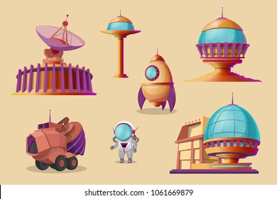 Vector mars colonization cartoon set. Spaceship, shuttle, rocket, mars rover - bulldozer, different bases, colony buildings. Futuristic technology, sci-fi construction, exploration of space