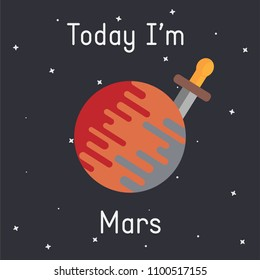 "Vector Mars with sword illustration with ""Today I'm Mars""  caption on dark background"