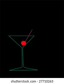 vector martini glass with cherry