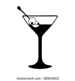 Vector  Martini Glass with Olives. Black and White Illustration.