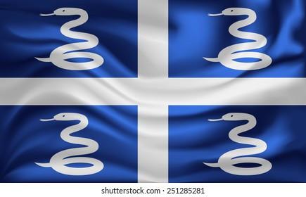Vector Martinique flag, three dimensional render, satin texture