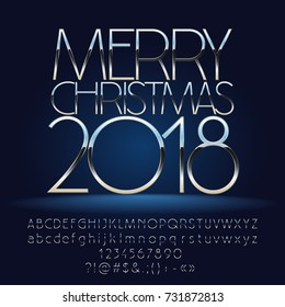 Vector marvelous Merry Christmas 2018 greeting card with Alphabet set of Letters, Symbols and Numbers. Silver Font contains Graphic Style