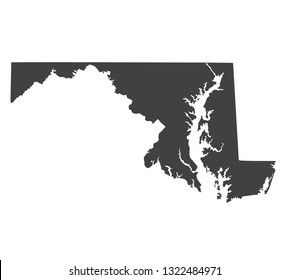 Vector Maryland Map silhouette. Isolated vector Illustration. Black on White background.