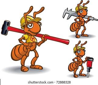 Vector mascot ant builder