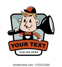 Vector mascot, cartoon, and illustration of a badge, emblem logo template handyman  vintage retro, 60s, 80s shouldering plunger