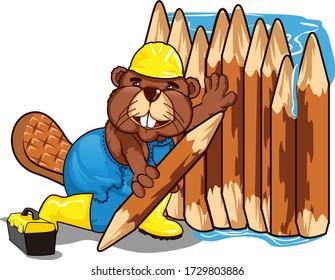 vector mascot cartoon illustration of beaver builds a dam
