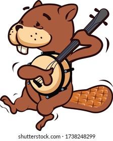 vector mascot cartoon illustration of the beaver playing banjo