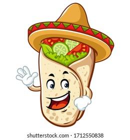 Vector mascot, cartoon, and illustration of a burrito say hi! wearing sombrero