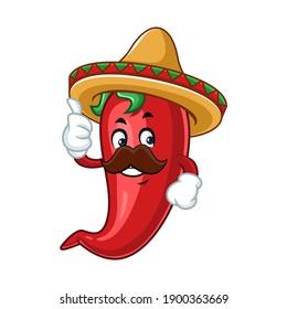 Vector mascot, cartoon, and illustration of a chilli thumb up wearing sombrero