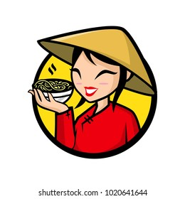 Vector mascot, cartoon, and illustration of a girl holding pho bowl.