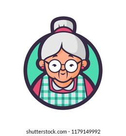 Vector mascot, cartoon, and illustration of a Grandma kitchen.