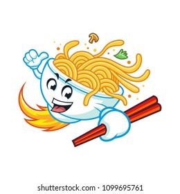 Vector mascot, cartoon, and illustration of a noodles bowl  holding chopsticks.