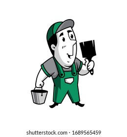 Vector mascot, cartoon, and illustration of a retro handyman holding bucket and paint brush
