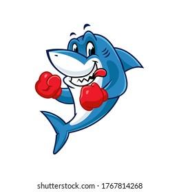 Vector mascot, cartoon, and illustration of a shark wearing boxing gloves