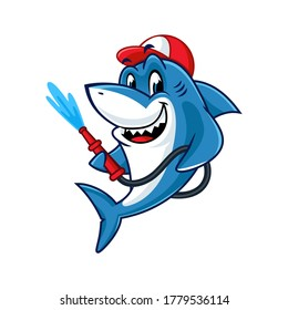 Vector mascot, cartoon, and illustration of a shark holding water pipe