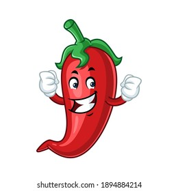 Vector mascot, cartoon and illustration of a strength chilli