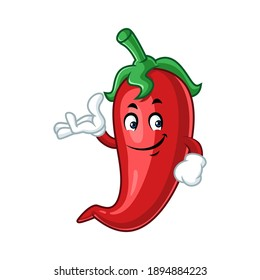 Vector mascot, cartoon, and illustration of a strength chilli say welcome