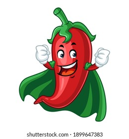 Vector mascot, cartoon, and illustration of a strong chilli