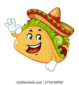 Vector mascot, cartoon, and illustration of a taco say hi! wearing sombrero hat