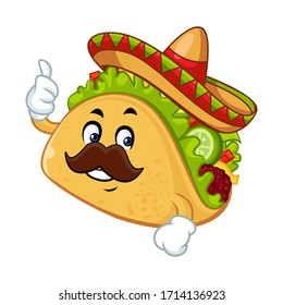 Vector mascot, cartoon, and illustration of a taco thumb up wearing sombrero hat