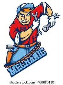 Vector Mascot Illustration of Mechanic Guy