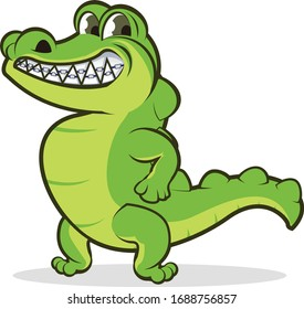 vector mascot illustration strong crocodile smile with strirrup
