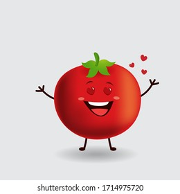 Vector mascot illustration_cute tomato_I am falling in love with you_in isolated background