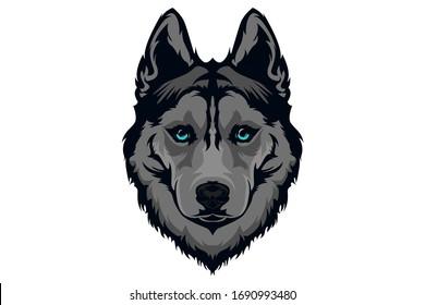 vector mascot, siberian husky with blue eyes