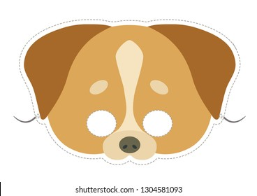 Vector mask of cute brown dog. Animal mask for children.