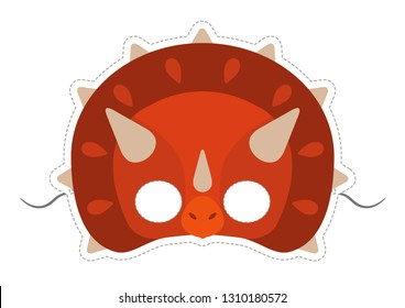 Vector mask of cute red dinosaur (triceratops).