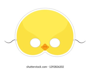 Vector mask of cute yellow chicken. Animal mask for children.
