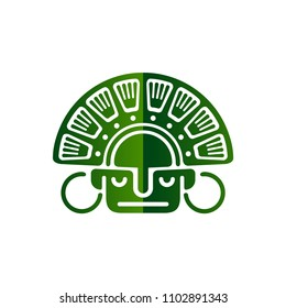 Vector mask and deity of the Indians of South America. Stylized graphics in the style of the Aztecs and the Incas on white background.