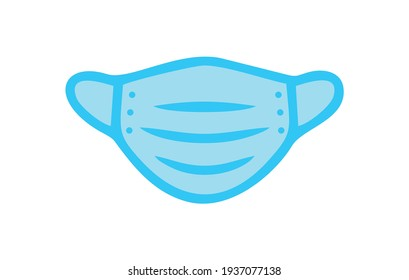 Vector of Mask Icon with simple style in blue theme illustration. Mask vector Icon.