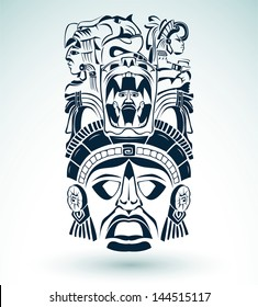 Vector mask, mexican Mayan - aztec motifs - symbol