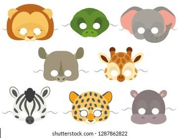 Vector mask set of cute African animals: lion, crocodile, elephant, rhinoceros, giraffe, zebra, leopard and hippopotamus. Collection of cute animal masks.