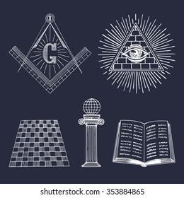 Vector masonic symbols set. Sacred society icons, freemasonry emblems, logos on black background. Esoteric illustrations collection.