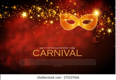 Vector masquerade party poster. Shining design. Vector illustration