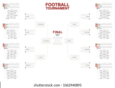 Vector match schedule of football tournament, all matches time and place. Size A2 ready for print.