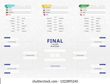 Vector match schedule of football tournament. Soccer tournament bracket, size A2 ready for print.